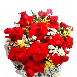 Buque de rosas importada com 12 rosas