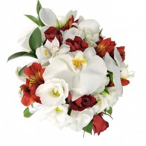Buquê com Rosas, Orquídeas e Astromélias